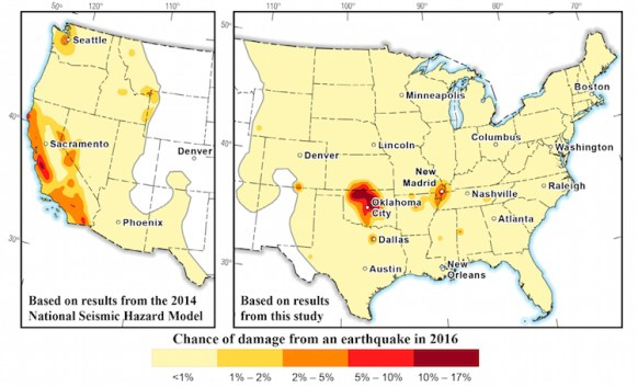 This figure presents the chance and damage of an earthquake occurring in the United States for 2016. Source: United Stated Geological Survey