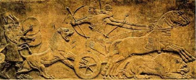 Rey Asirio cazando leones.