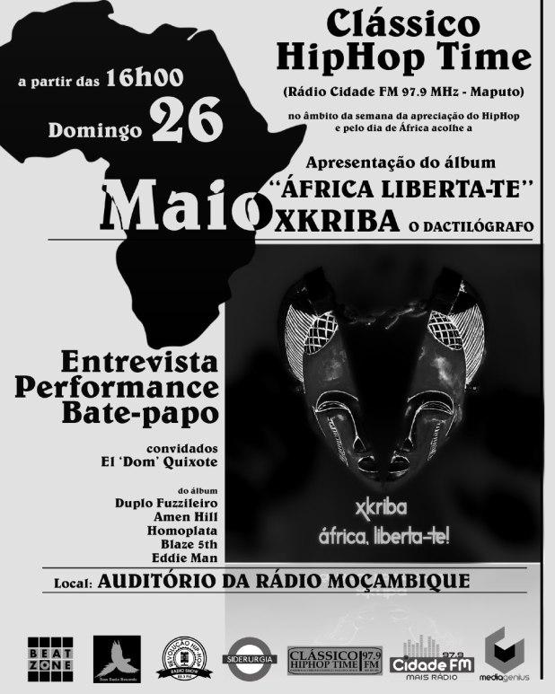 """""""África Liberta-te"""", novo álbum de Xkriba, dia 26/5 no Clássico HipHop Time, apresentação oficial"""