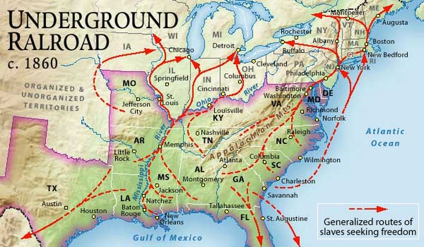 Harriet Tubman Underground Railroad Route