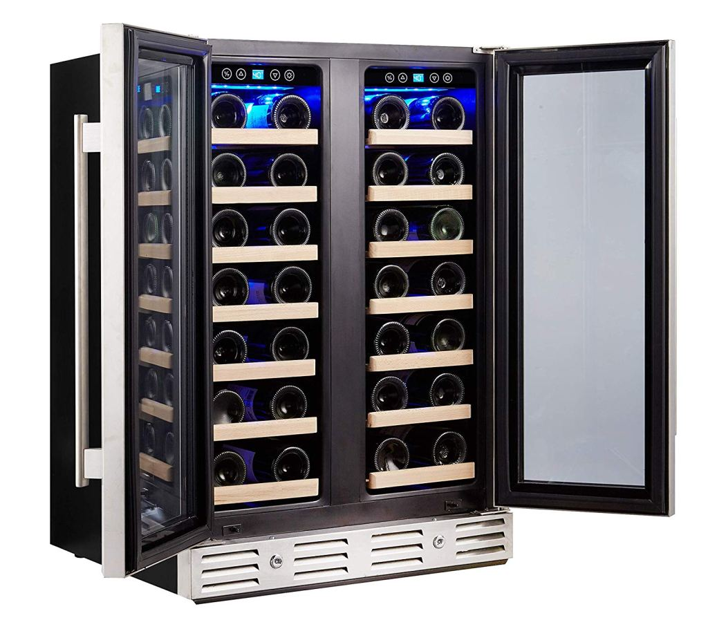 Kalamera Wine Cooler - Fit Perfectly into 24 inch Space Under Counter or Freestanding - Dual Zone