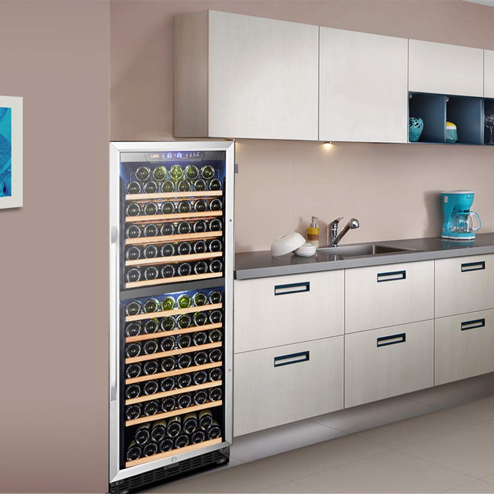 LANBO Wine Cooler Refrigerator, 138 Bottle Dual Zone Red Wine Cellar Built-in or Freestanding Versatile