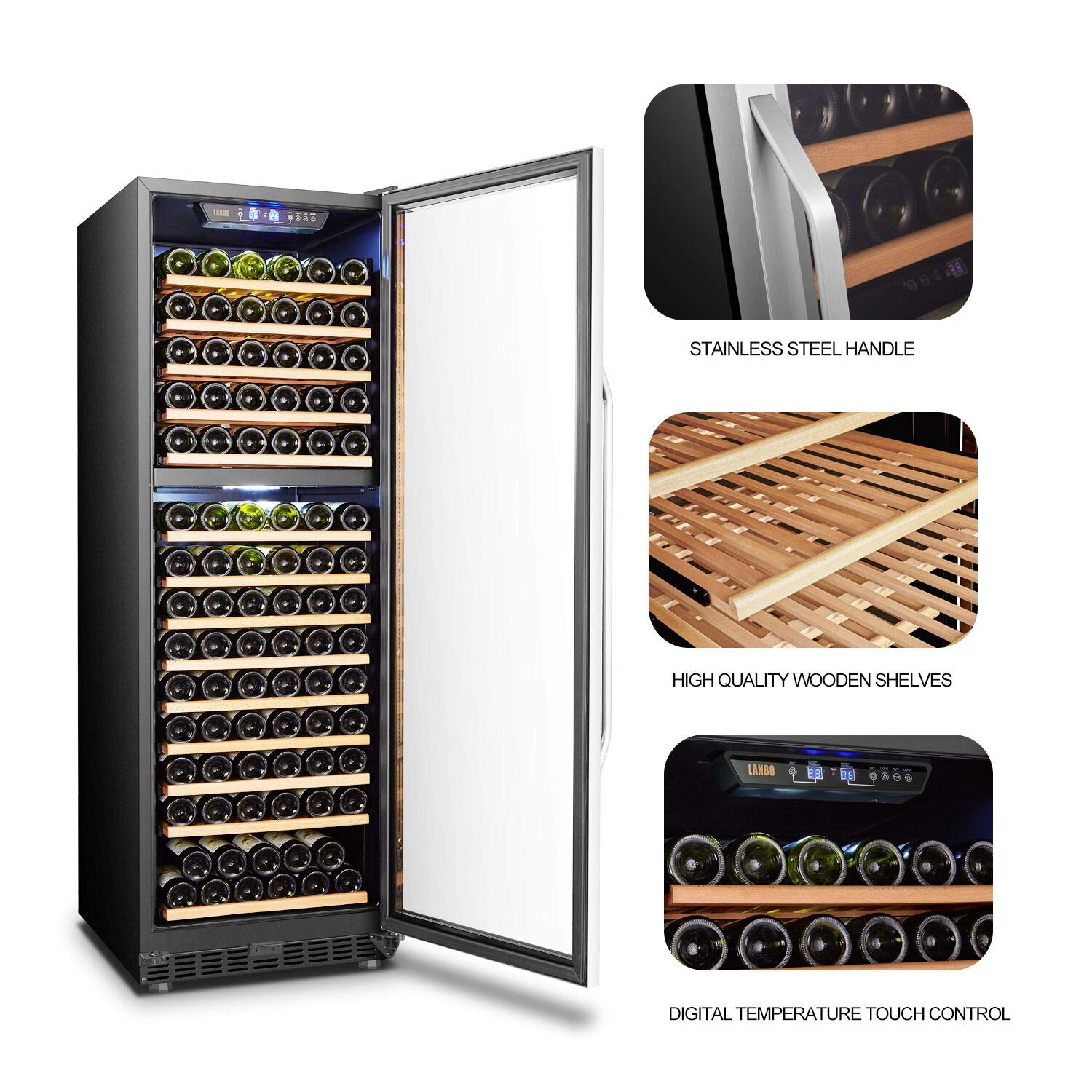 LANBO Wine Cellar Refrigerator, 160 Bottle Dual Zone Compressor