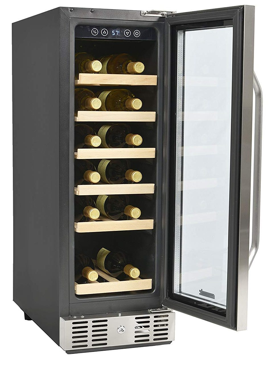 NewAir Built-In Wine Cooler and Refrigerator, 19 Bottle Capcity Fridge with Triple-Layer Tempered Glass Door, AWR-190SB