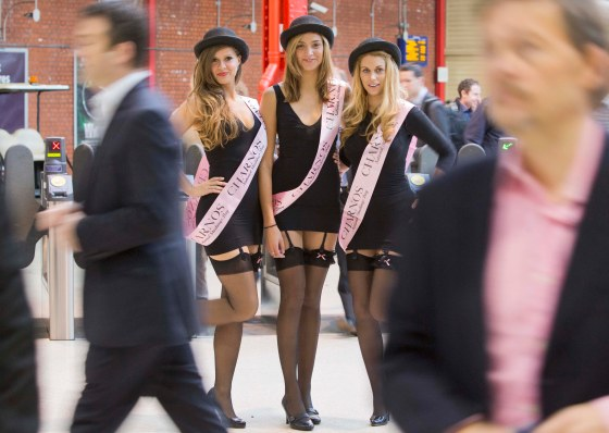 Charnos Hosiery's girls 'working those hold ups' for National Stockings Day 2013