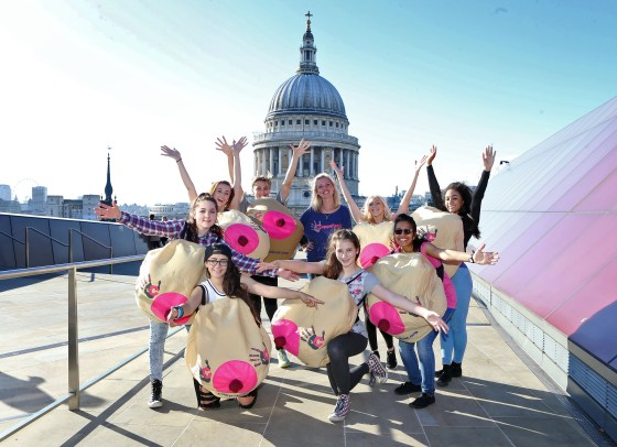 Coppafeel charity flash mob at One New Change, St.Pauls, London, Britain - 28 Oct 2014