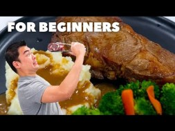 For Beginners How to Cook Rib Eye Steak with Gravy Homemade Mashed Potato and Steamed Veggies