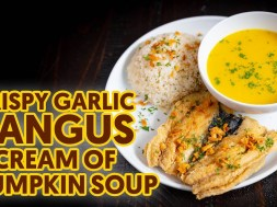 Crispy Garlic Bangus with Cream of Pumpkin Soup