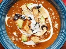 Sopa Tarasca (Pinto Bean Soup) with Jalapeño Corn Fritters