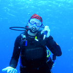 Me - taking a call on my dive computer.