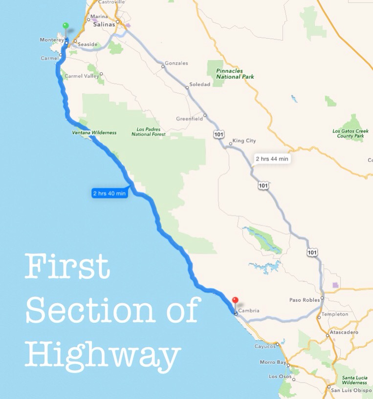 Map of California Pacific Coast Highway