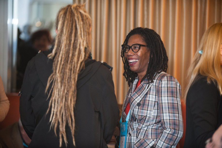 Photo of two donors smiling at each other at the Donor Reception in 2019