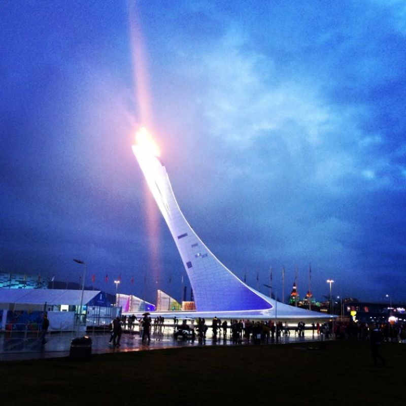 Olympic Flame at night - Sochi Olympics 2014