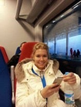 Russian fan on a train in Sochi