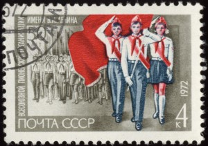 Soviet Union stamp with pioneers 1972