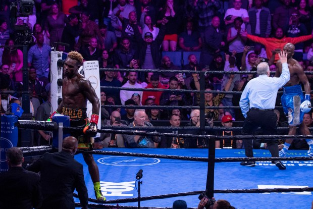 Charlo Celebrates the second knockdown of round eleven. Photo: Lina Baker/UTHW