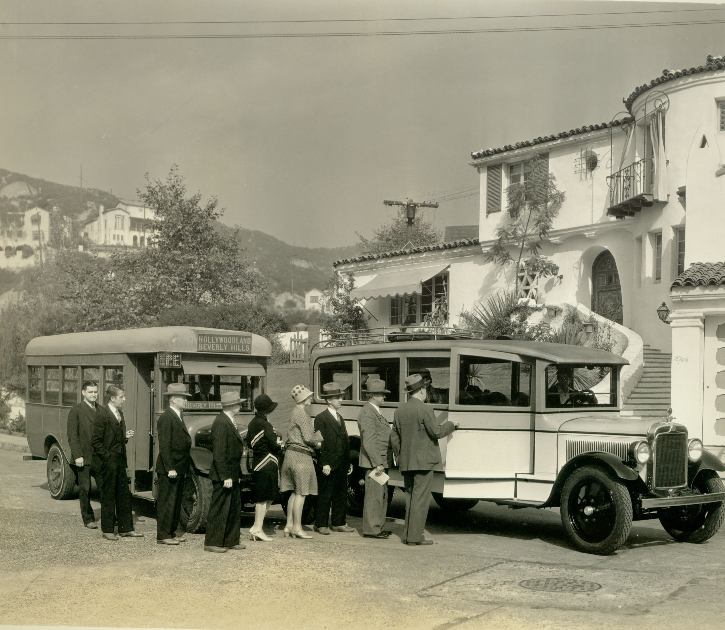 Catching the bus outside Busby Berkeley's house, c. 1930/Courtesy Bruce Torrence