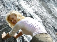 rachelle siegrist with smokies waterfall