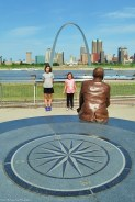 The girls enjoyed standing on the Mississippi River Overlook.