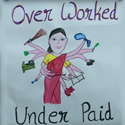 drawing of indian woman holding many things with the caption over worked under paid