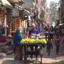 Wodden cart in Indian marketplace.