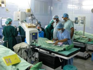 Aravind surgeons perform 300 procedures on a typical day in the main hospital facilities in Madurai, India.