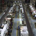 The sewing floor of a garment factory in El Salvador.