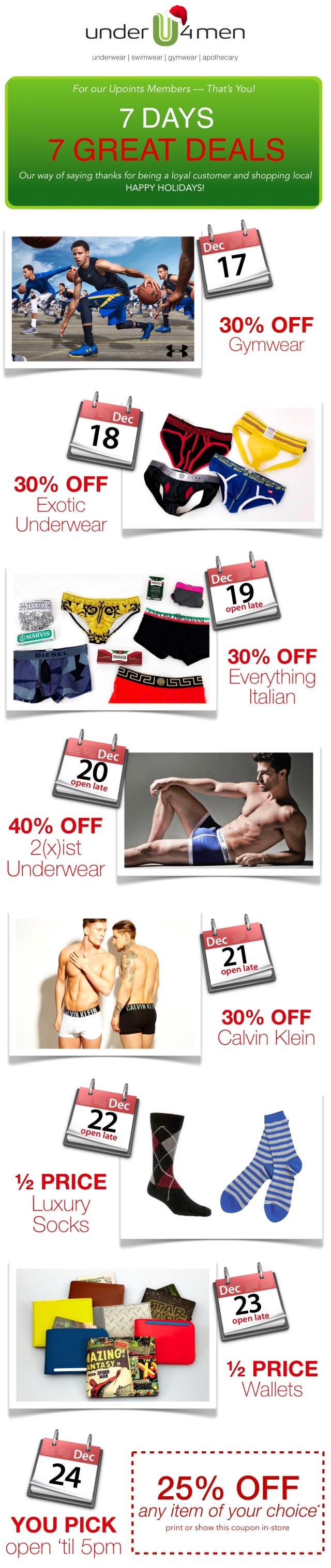 underwear sale, gymwear sale, swimwear sale, underu4men