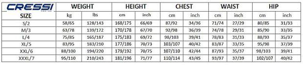 Måleskema fra Cressi - Cressi Våddragt Apnea 7mm