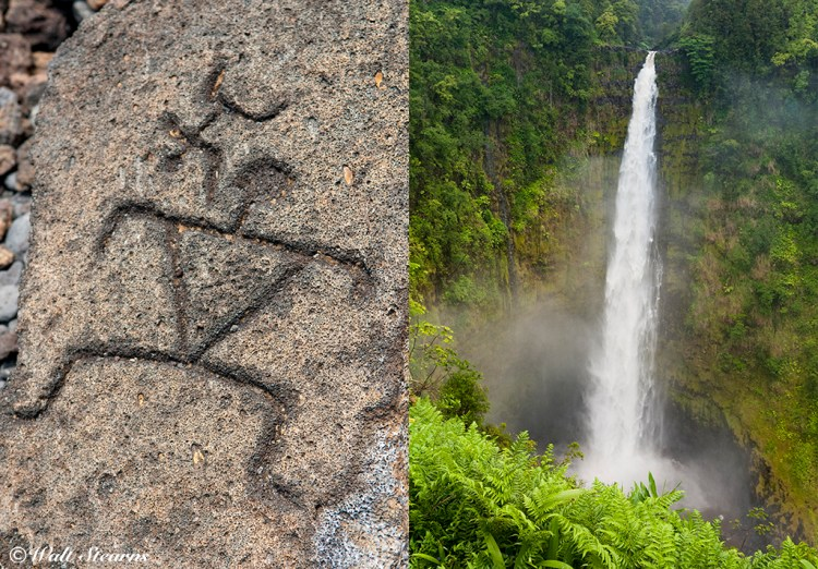 Top Left - Polynesian Petroglyph at the petroglyph fields at Puako historic site. Top Right – waterfall on the windward side of the island.