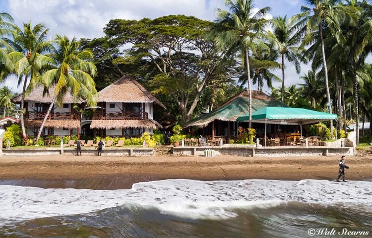 Beach side view of Atlantis Dive Resort in Dumaguete. Philippines.
