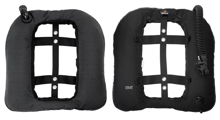 Front and back view of a Dive Rite CCR XT wing is specifically made for rebreathers providing 40 lbs. / 18.1 kgs of lift.