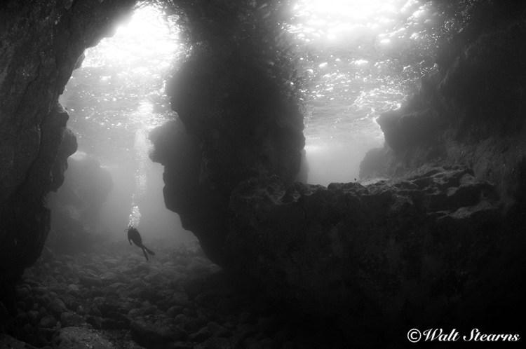 Entrance to a large lava tube at Bob's Reef off the Kona Coast of Hawaii's Big Island