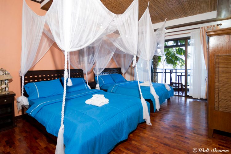 Up stairs Superior Room with two queen beds and balcony at Crystal Blue Resort.