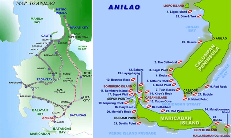 Map of Anilao in the Philippines