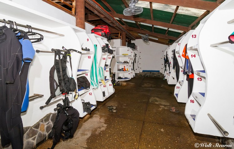 Dive Center's storage room where guest can hang their equipement and wetsuites at the end of the day.