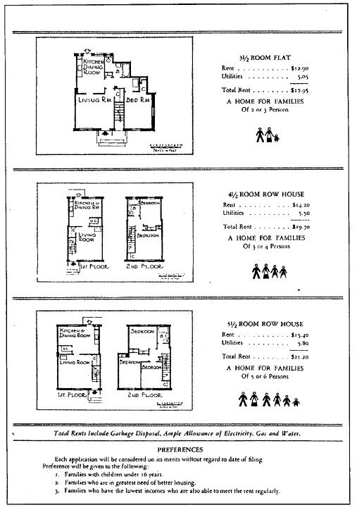 """Material promocional de Holly Courts, San Francisco, 1940. Reproducido Catherine Bauer (1940), """"Guía del Ciudadano para la Vivienda""""."""