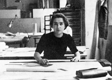 Léonie Geisendorf en el estudio de Le Corbusier, 1937.