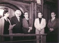 Rosa Grena Kliass, Roberto Burle Marx, Paulo Nogueira Neto, Mauro de Moraes Vitor e Hermes Moreira de Souza, en el acto de fundación del ABAP