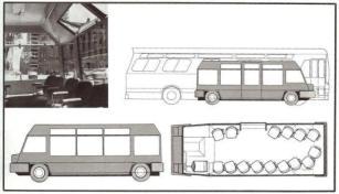 Ginkelvan, minibús híbrido desarrollado para el Plan de Tráfico de Manhattan en 1972 por Van Ginkel Associates