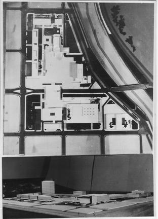 """Odilia Suárez y Eduardo J. Sarrailh. Concurso Nacional """"Sistematización Urbano-edilicia del Centro Administrativo de la Provincia de Córdoba"""" (1955)."""