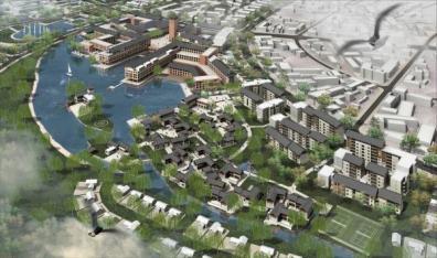 """Planeamiento """"Yulong New Town"""", Lijiang, China, 2004."""
