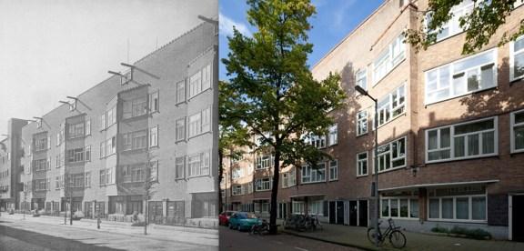 Margaret Kropholler-Staal, Edificio en Orteliusstraat: Estado original (izq) y actual (drch.)