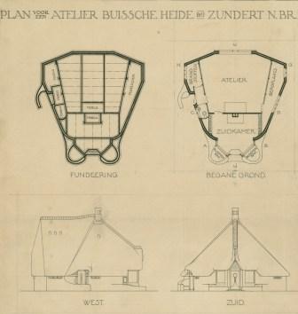 Margaret Kropholler-Staal, Casa-estudio Roland Holst. Plantas y Alzados, Zundert 1918.
