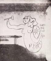 """""""La sirena de Varsovia"""", dibujo de Pablo Picasso en una pared de los apartamentos en Kolo durante una visita a los Syrkus en 1948 con motivo del Congreso de Intelectuales en Breslau"""