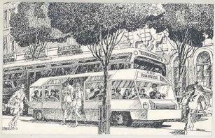Ginkelvan, minibús híbrido desarrollado para el Plan de Tráfico de Manhattan en 1972 por Van Ginkel Associates.
