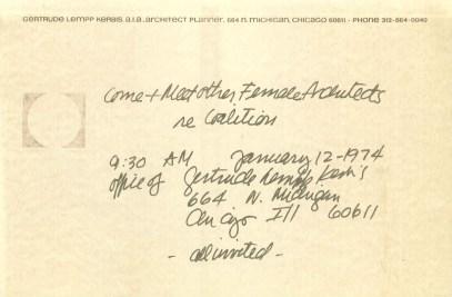 Carta de invitación de Gertrude Lempp Kerbis previa a la formación de Chicago Women in Architecture