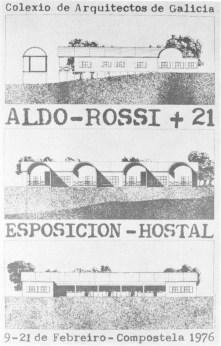 """Cartel de la exposición """"Aldo Rossi + 21 Arquitectos españoles"""", Santiago de Compostela, 1976"""