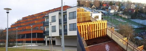 Mai Šein y Andrus Padu: Edificio de apartamentos en la Calle Sõpruse n.31 (Tallinn). Vista general desde jardín comunitario. Vista de las terrazas escalonadas