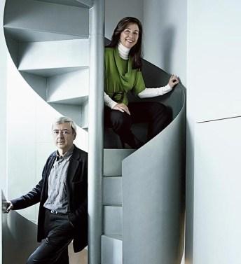Fuensanta Nieto y Enrique Sobejano en su estudio de Madrid.